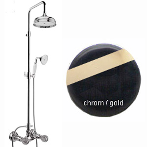 2-handle shower mixer with column, shower head and handshower chrome / gold and original Swarovski Crystal handle,<br>AN: KA760405017