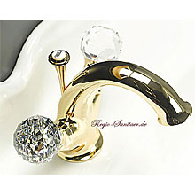 2-handle washbasin mixer gold 24 Karat with original Swarovski Crystal handle and pop-up waste,<br>AN: KA700101010
