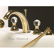 4-holes deck mounted bath mixer gold 24 Karat with original Swarovski Crystal handle,<br>AN: KA730101010