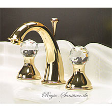 2-handle 3-holes washbasin mixer gold 24 Karat with original Swarovski Crystal handle and pop-up waste,<br>AN: KA750101010