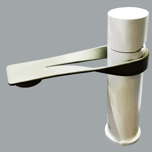 Single lever washbasin mixer stainless steel and white matt with up and down pop-up waste,<br>AN: NB830101741