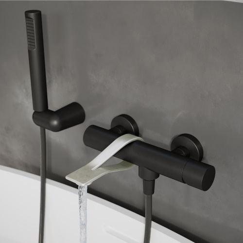 Single lever bathtub mixer stainless steel and black matt with shower set,<br>AN: NB850101441