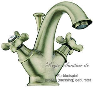 Nostalgie Landhausstil 2-Griff Waschtischarmatur messing gebürstet mit Kreuzgriffe und Ablaufgarnitur im Retro Antik Design, AN: OT700101065