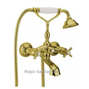 Nostalgic 2-handle bathtub mixer with shower set gold 24 Karat,<br>AN: OT720201010