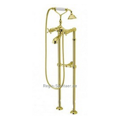 Nostalgic 2-handle bathtub mixer with floor connections and shower set gold 24 Karat,<br>AN: OT720801010