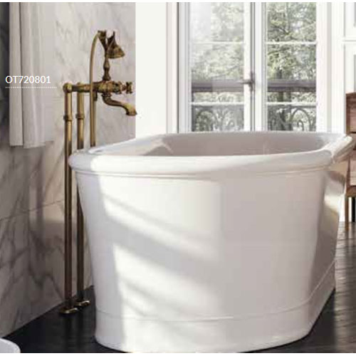 Nostalgic 2-handle bathtub mixer with floor connections and shower set bronze brush-finished,<br>AN: OT720801065