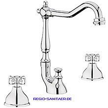 Nostalgic 2-handle 3-holes washbasin mixer with high swivel spout chrome with pop-up waste,<br>AN: OT750202015