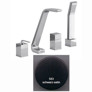 4-holes deck mounted bath mixer matt black handle chrome with spout,<br>AN: WO850701564