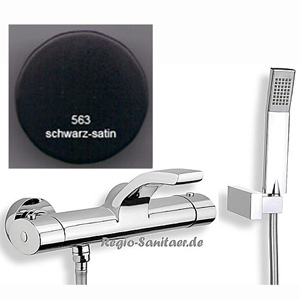 Thermostatic bathtub mixer matt black handle chrome with shower set,<br>AN: WO980201564